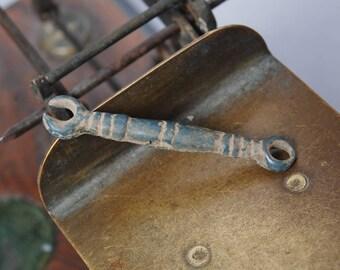 Antique brass connector, stick, finding, original blue patina