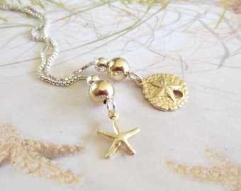 NEW-Seaside Threaders-Gold and Silver-Sand Dollar and Starfish