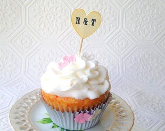 Initial Heart Cupcake Toppers, Custom Initials, Wedding Cupcake Toppers, Vintage Inspired Heart Cupcake Toppers, Sweets Table, Set of 24