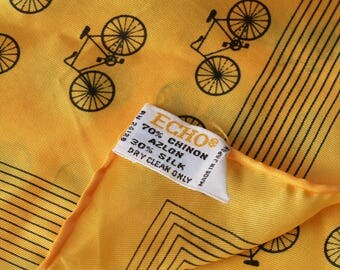 """Vintage Silk Rayon Bicycle Scarf Echo 22"""" Square Hand Rolled-OSB2"""