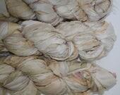 Recycled Sari Silk Ribbon Yarn Cream multi #3 color, 65 yards,  free shipping 3.5 oz / 100 grams