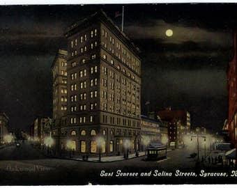 Syracuse N.Y. East Genesee & Salina Street Night View Postcard, Upstate New York, Antique Ephemera c1915, FREE SHIPPING