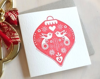Letterpress Christmas card, all-round, Christmas bauble, Scandinavian folk style, birds, snowflakes, ruby red. Made in Australia