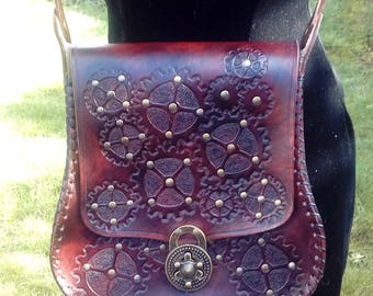 Cogs Away hand carved Leather Handbag