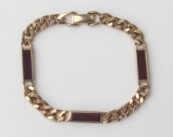 Vintage 1978 Signed Avon Trazarra Wristchain Gold Tone Burgundy Dark Rust Red Enamel Curb Chain Mens Accessory Bracelet with WEAR PATINA