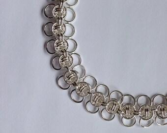 Argentium Silver Chainmail Bracelet, Celtic Wings, Argentium Bracelet, Chainmail, Chainmail Jewelry, .935 Silver Bracelet, Chainmaille