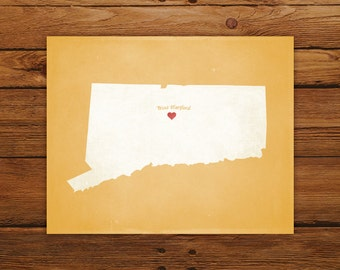 Customized Printable Connecticut State Map - DIGITAL FILE, Aged-Look Personalized Wall Art