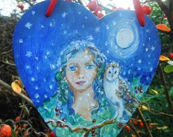 """SALE """"Owl Whisperer""""Original art gift , Owl art, Heart shape home decor"""