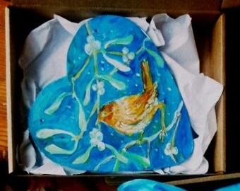 """Sale """"Little Wren""""  ,Qriginal hand painted Acrylic art , heart shape ,  unique decoration"""