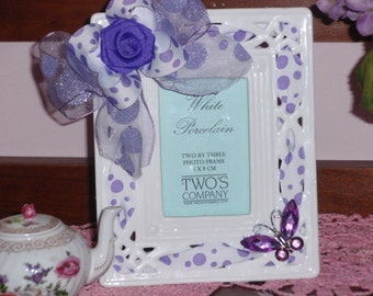Fancy Purple and White Picture Frame