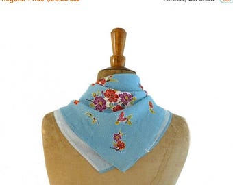 ON SALE Vintage Japanese Chirimen furoshiki blue floral and butterflies rayon fabric square or scarf