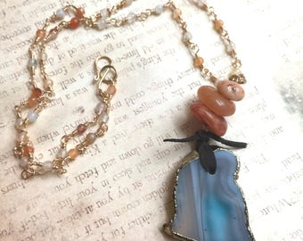 Blue Agate pendant, hand made wire woven Carnelian rosary chain,caramel color Agate,Blue pendant,boho necklace,rosary brass chain necklace