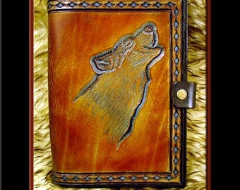 WOLF Design • A Beautifully Hand Crafted Medium Sized Leather Journal. Great for a diary, recipes, addresses, gardening notes. Hand Carved