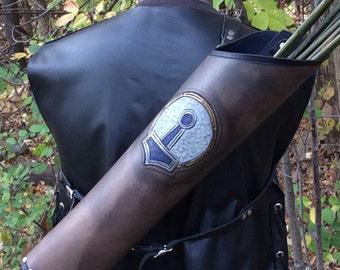 Leather back quiver Viking Thor's hammer