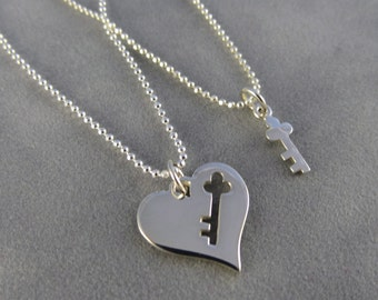 Sterling Mother Daughter Key to my Heart Necklaces - Mother's Day, Best Friend, Key Necklaces