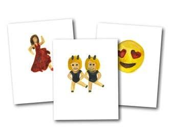 Emoji Celebration Cards - handpainted watercolor emoji greeting cards