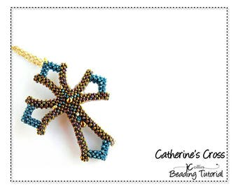 Small CRAW Seed Bead Cross Beading Pattern Tutorial  Cubic Right Angle Weave Beaded Cross Jewelry Beadweaving Instructions  CATHERINES CROSS