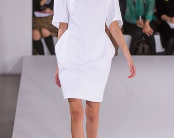 Linen white dress Womens clothes Ladies midi dress Cotton dress Designer dress Short sleeve dress Designer clothes for womens Fashion dress