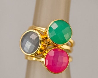 SALE - Stackable Ring Set - Stacking Stone Rings - Gemstone Ring- Bezel Rings - Gold Rings - Statement Rings - Mothers Rings