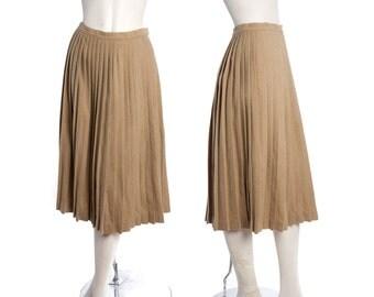 Vintage Pendleton pleated wool skirt -- 60s 70s brown accordion pleat midi skirt -- vintage winter skirt -- size medium