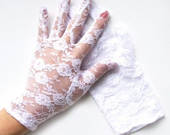 Gracie White Lace Gloves