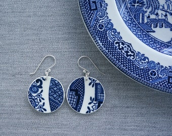 Blue Willow Orb Earrings Recycled Broken China Jewelry Material and Movement