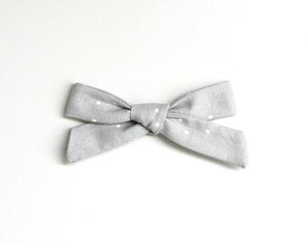 School Girl Bow - Grey Bow - Hand Tied Bow