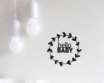 wall decal, hello baby, nursery wall decals, nursery stickers, hello baby sticker, minimalist nursery decal, monochrome nursery