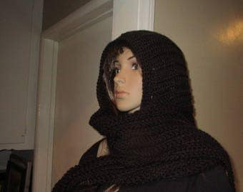 Black Hooded Scarf Touch of Class Hood Scarf  Neck Warmer all in one Hand Crochet