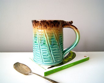 Coffee Mug, Cerulean Green and Frosty Brown / Handmade Wheel Thrown, MADE TO ORDER by RiverStone Pottery