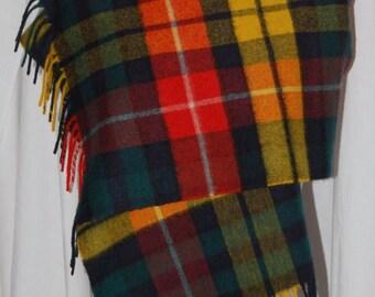 Back to school sale, Vintage cashmere scarf, johnston's of elgin, bloomingdales, buchanan tartan, plaid scarf, fringe scarf, pre season sale
