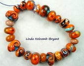 Lampwork Glass Bead Set of Mixed Turquoise and orange Beads- set of 24