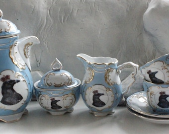 Blue or Pink and Gold Raven Tea Set, Bird Tea Cup, Raven Cup, Crow Tea Set, Bird Tea Set, Crow Teapot, Raven China, Crow China, Bird China