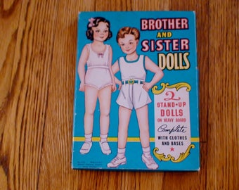 1950s Dolls, Brother and Sister, Sandy and Sue, Whitman Publishing Company, Original Packaging