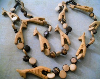 Giraffe Wooden Necklace ~ Beautiful Carved Multi-Strand with Giraffes and Coconut Shell Beads