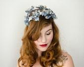 1950s vintage hat / blueberry hat / floral fascinator