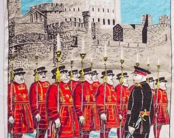 Vintage Beefeater Tea Towel, Yeomen Warders of the Tower of London, Vintage Linen Tea Towel, English Tea Towel, Beefeaters
