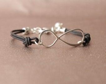 Sterling Silver Infinity & Greek Leather Bracelet