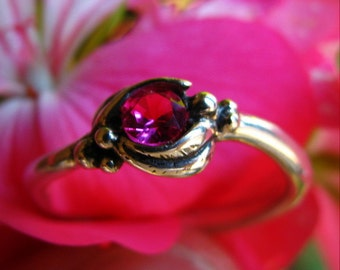 Sterling Silver Sweetheart Ring or Engagement with Created Ruby, Nature Inspired, Eco-Friendly