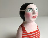 Clay figurine // SWIMMER 79 clay sculpture // totem // red blue grey stripe bathing suit // black & goggles // original art