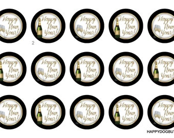 Happy New Year Pinback Flatback Button Badge Magnets Party Favors or Crafting 1 inch set of 10