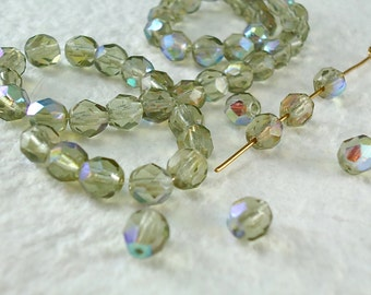 25 Glass Beads Silver Fire Polished Faceted Round 6mm Two Tone multi-color Vitrail