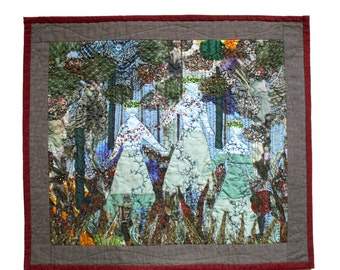 Woodland folklore scene with dancers textile art