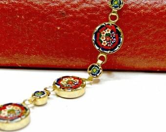 Vintage Italian Micro Mosaic Link Bracelet - Floral Red Blue Gold Millefiori
