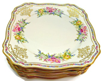 Rosenthal Ivory Bavaria Square Salad Plates, Set of 8, Vintage China Made in Germany, Evelyn Pattern No. 2778