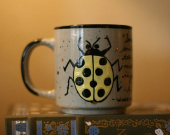 "A.A. Milne ""Sometimes the smallest things take up the most room in your heart"" - Small, Hand-Painted Quote Mug - Ladybugs - Pooh"