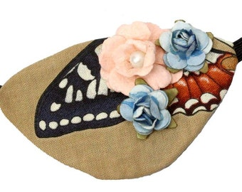 Tan Eye Patch Woodland Wing Fairy Floral Cosplay Fashion Fantasy Natural Butterfly