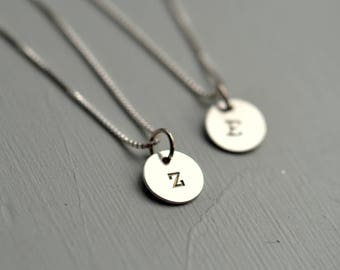 Silver Letter Z Necklace Stamped Silver Disc Mothers Necklace