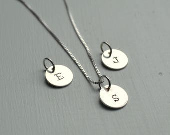 Silver E Disc Necklace Stamped Initial Letter E necklace pendant