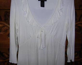 Stretchy Empire Style Babydoll 3/4 Sleeve White Boho Cowgirl Top by Boston Proper
